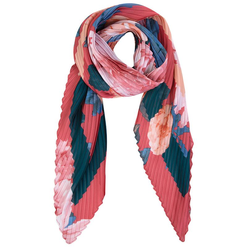 Heaven Pleated Floral Scarf -  pink
