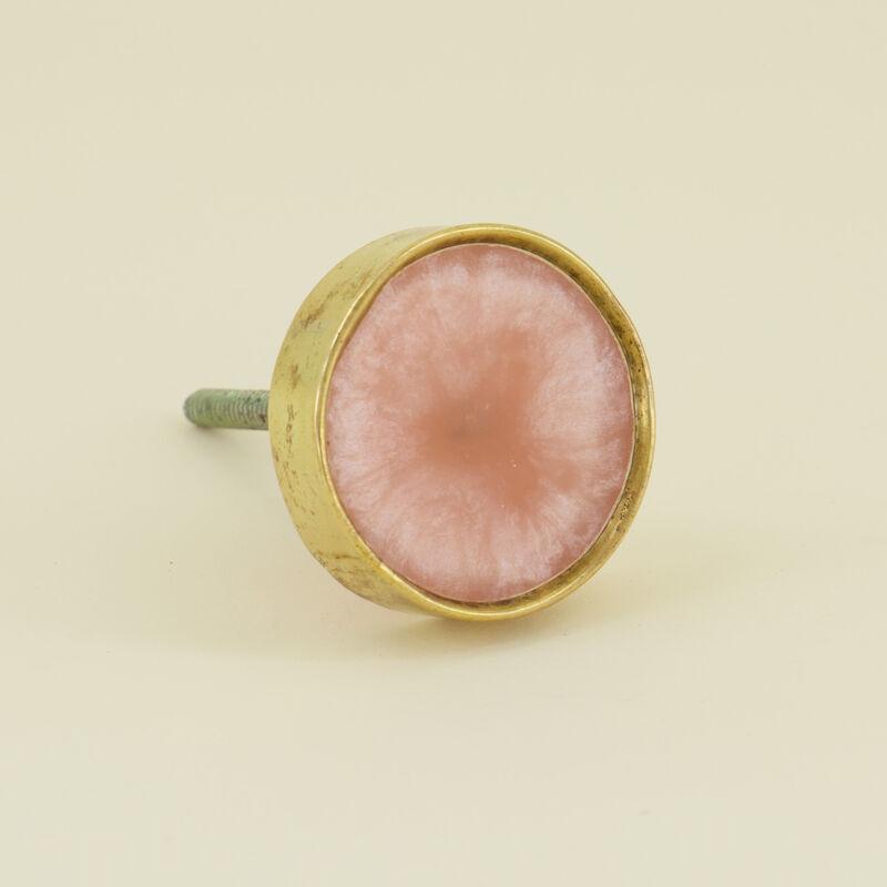 Pink Resin & Gold Metal Knob -  pink-gold