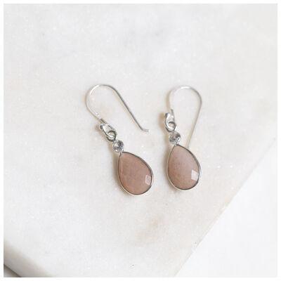 Peach Moonstone & Silver Teardrop Earrings