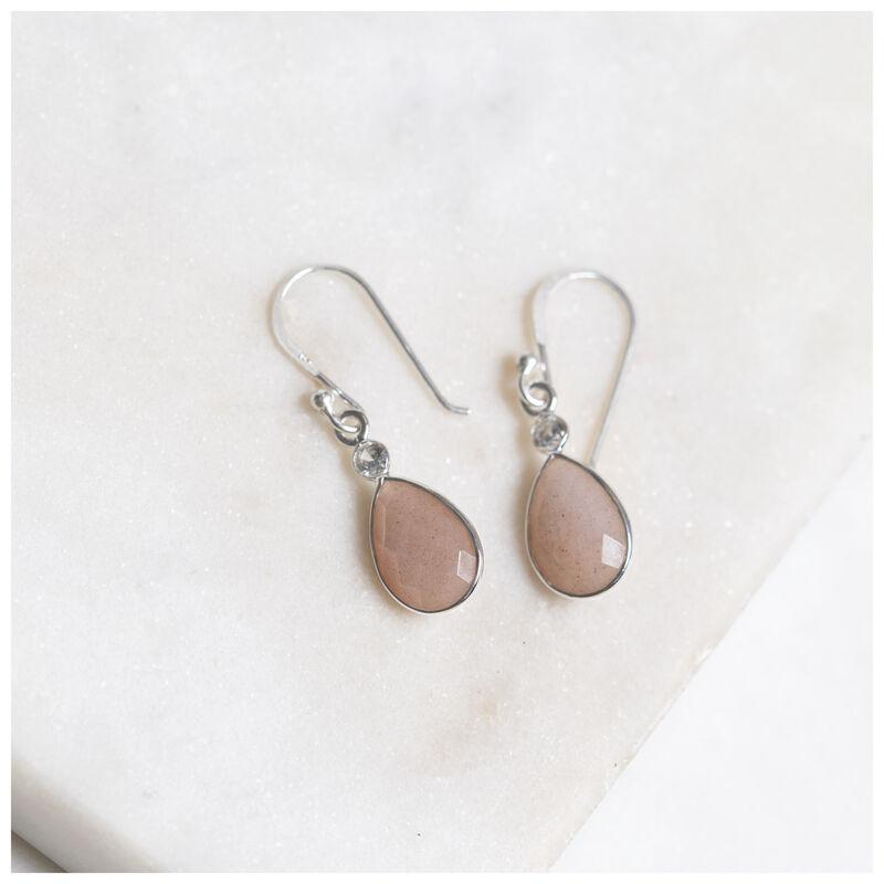 Peach Moonstone & Silver Teardrop Earrings -  silver-peach