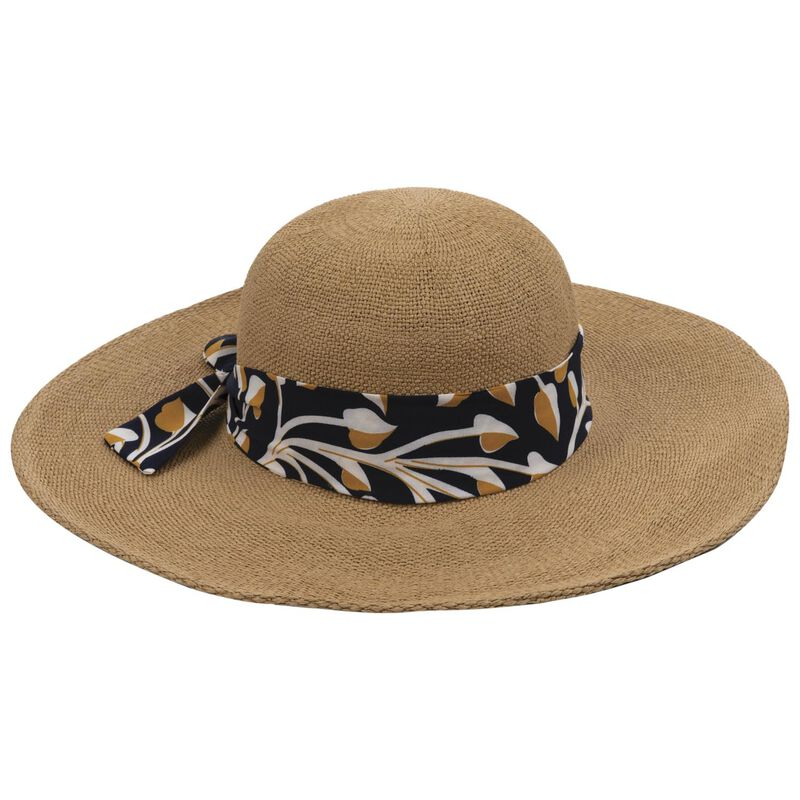 Omnia Wide-Brimmed Straw Sunhat -  oatmeal-assorted