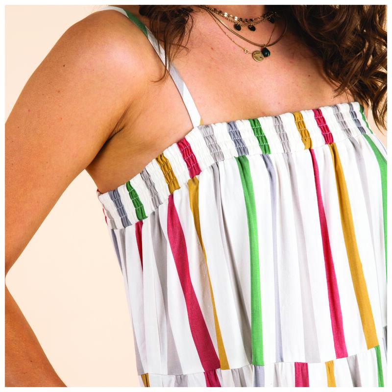 Loren Stripe Dress -  white