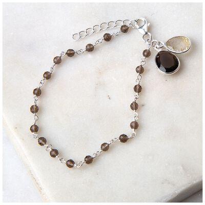 Smokey Quartz & Golder Rutile Silver Bracelet