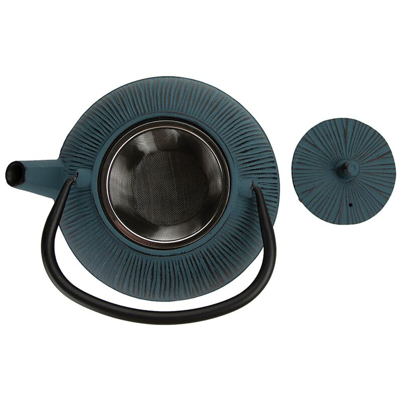 Carved Blue Teapot -  blue