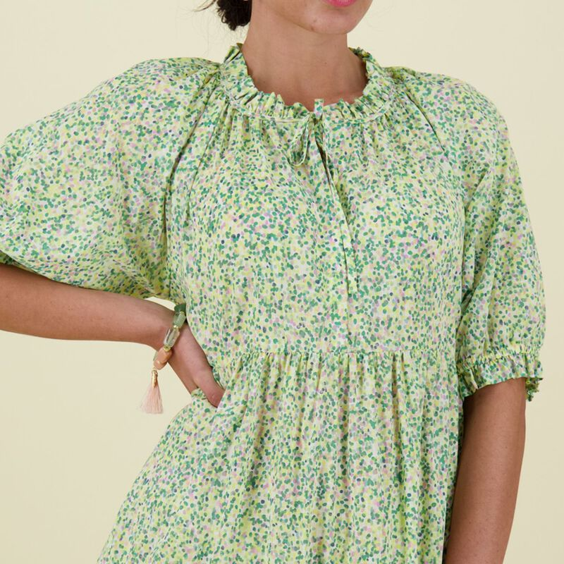 Claire Printed Tiered Dress -  green