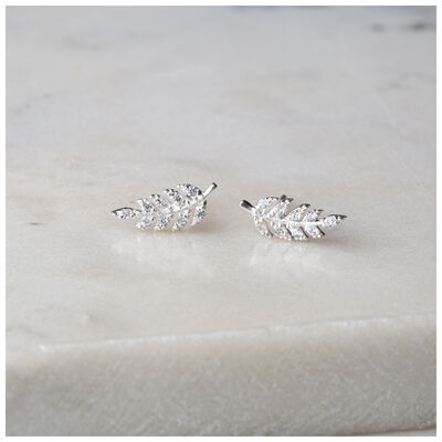 Silver & Clear Crystal Fern Stud Earrings