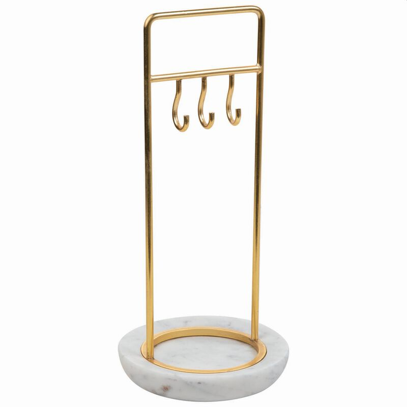 Marble & Brass Jewellery Stand -  white-gold