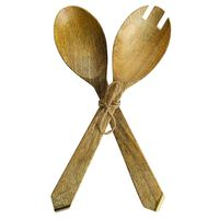 Mango Wood and Brass Salad Servers -  brown-assorted