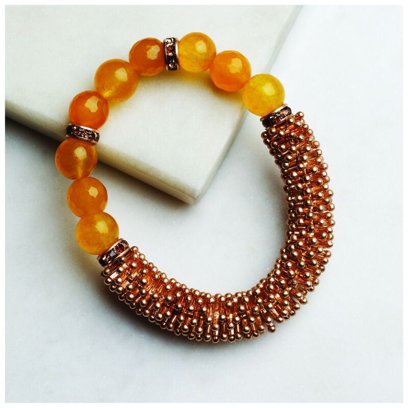 Chunky Beaded Stretch Bracelet -  gold-brown