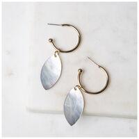 Leaf Hoop Drop Earrings -  brown-gold
