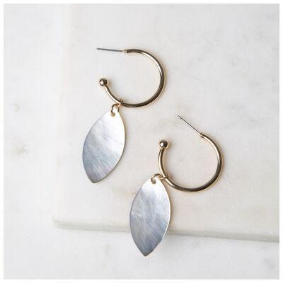 Leaf Hoop Drop Earrings