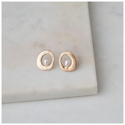 Freshwater Pearl Organic Circle Stud Earrings