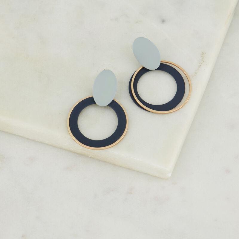 Rubberised Concentric Drop Earrings -  lightblue-blue