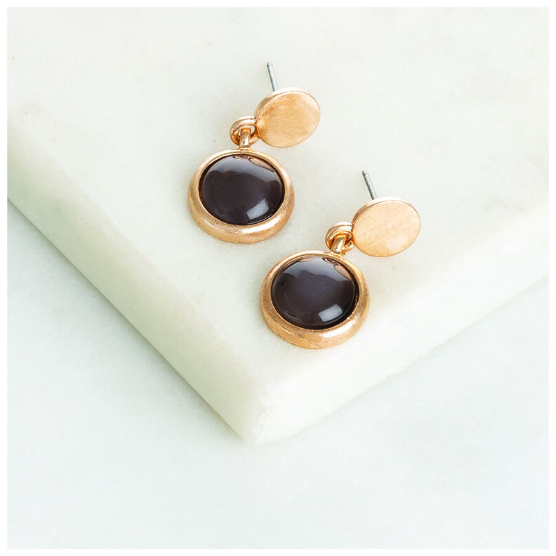 Stone Drop Earrings -  gold-black