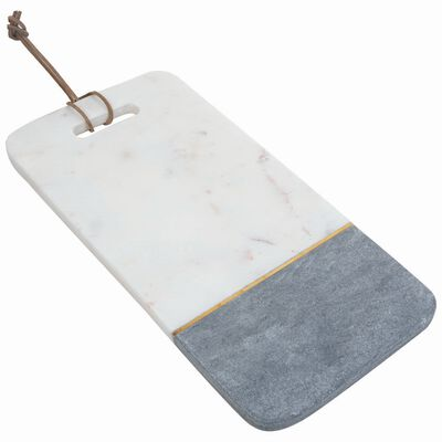 White and Grey Rectangle Marble Board with Brass
