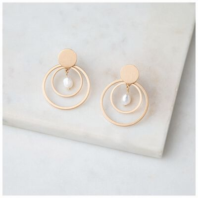 Freshwater Pearl & Circles Drop Earrings
