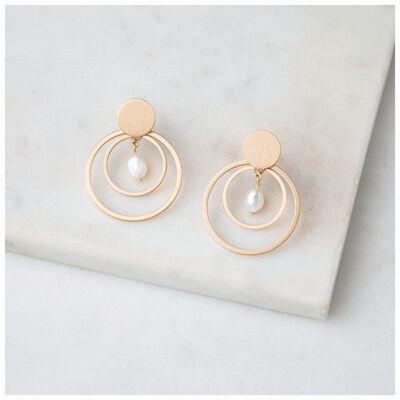 Freshwater Pearl & Circles Drop Earrings