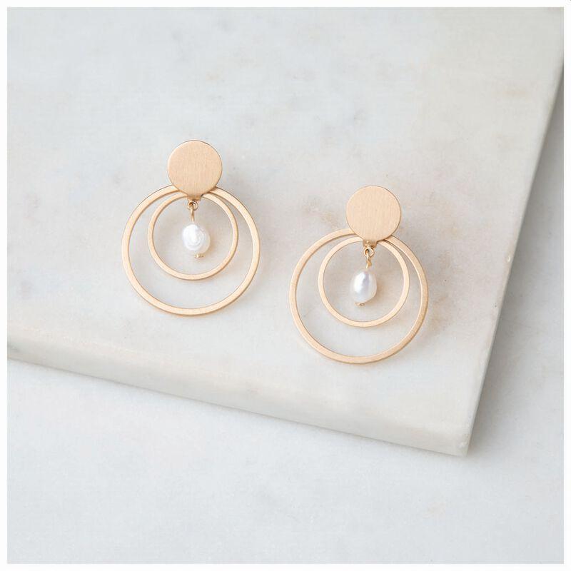 Freshwater Pearl & Circles Drop Earrings -  gold-cream