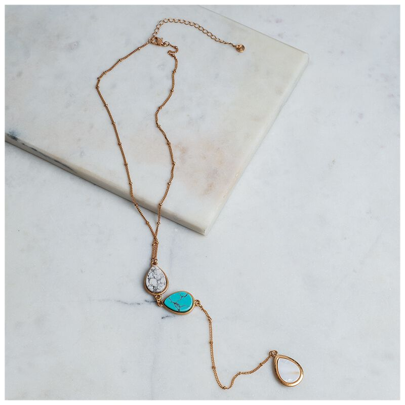Natural Three Stone Drop Necklace -  gold-turquoise