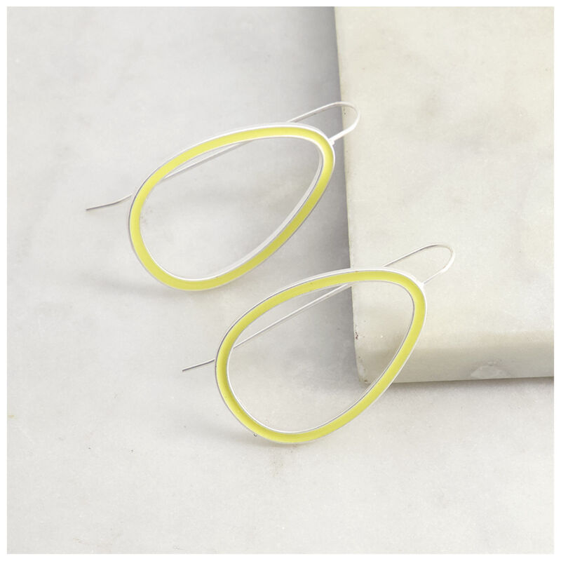 Geometric Drop Earrings -  yellow-silver