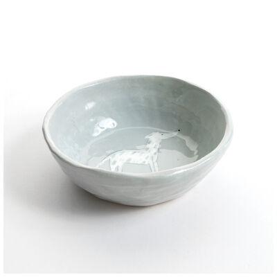 Gemma Orkin Light Grey Greyhound Dog Snack Bowl