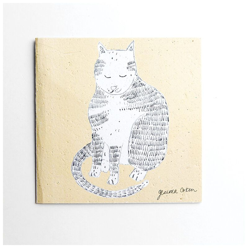 Gemma Orkin Yellow Cat Card -  yellow