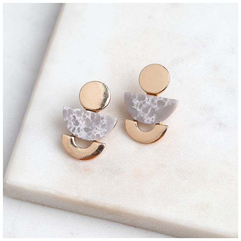 Geo Stone Stud Earrings -  gold-grey