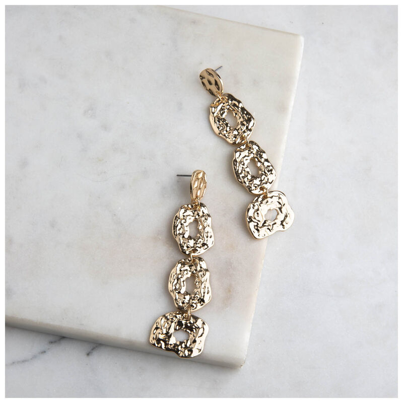 Beaten Dramatic Drop Earrings -  gold