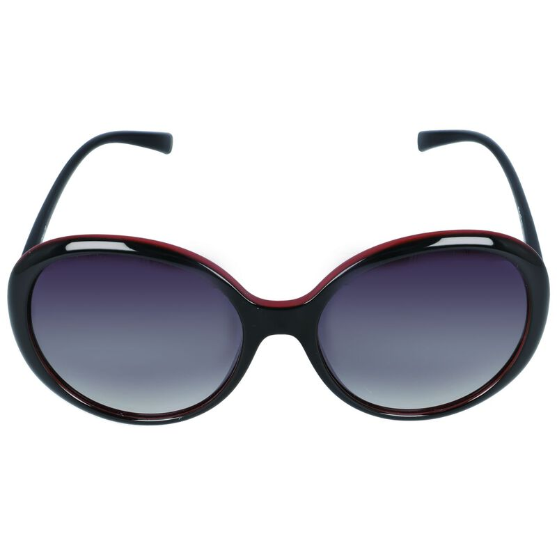 Classic Oversized Round Sunglasses -  black-red