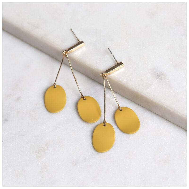 Two Leaf Drop Earrings -  gold-yellow