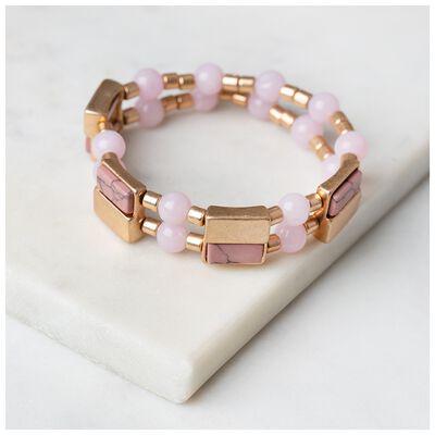 Stone & Metal Double Strand Stretch Bracelet