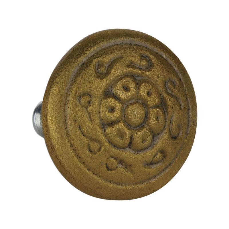 Engraved Brass Round Knob -  gold