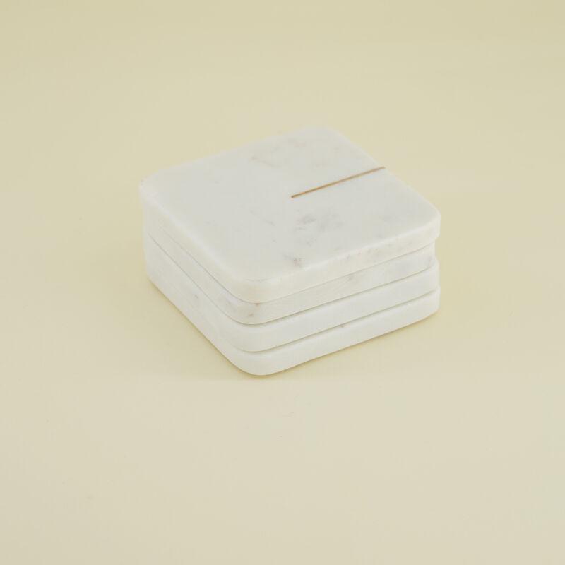 White Marble Square Coasters -  white-gold