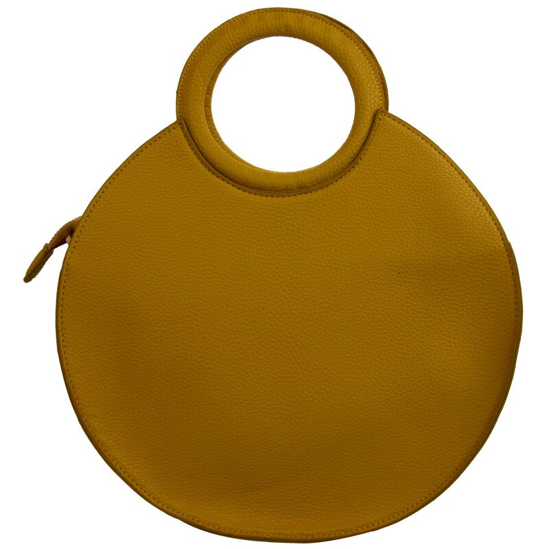 Nell Vegan Leather Round Handle Bag -  yellow