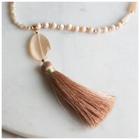 Tassel & Glass Bead Pendant Necklace -  gold-nude