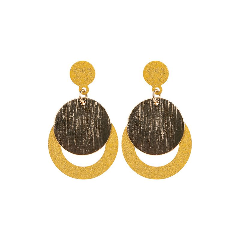 Circular Layered Drop Earrings -  gold-ochre