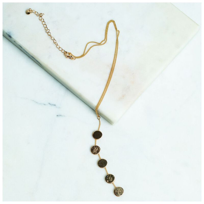 Polished Disk Y-Chain Necklace -  gold
