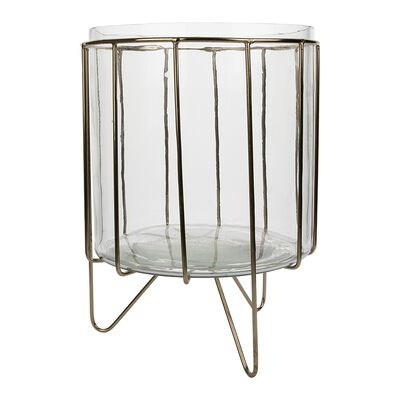 Small Glass Planter with Metal Stand