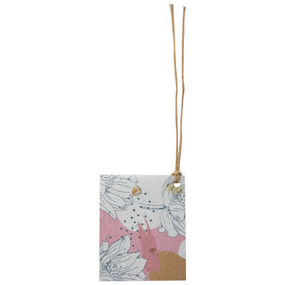 Growing Paper Pink & Ochre Flower Tag