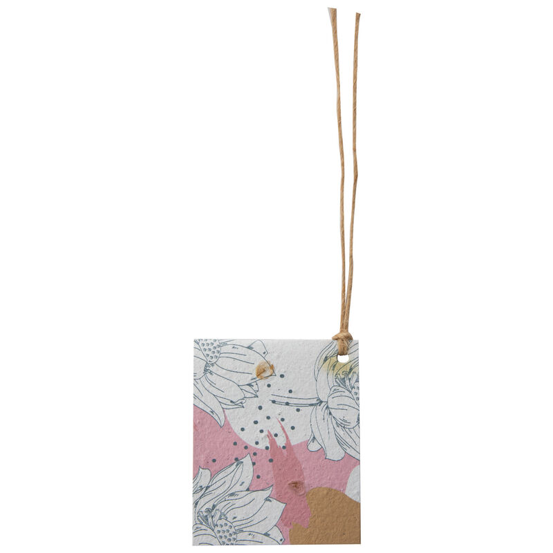Growing Paper Pink & Ochre Flower Tag -  pink-ochre