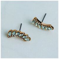 Delicate Leaf Stud Earrings -  gold-sage