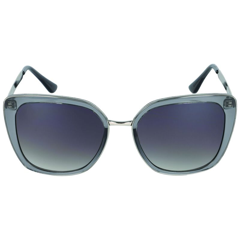 Modern Metal Inset Sunglasses -  grey-silver