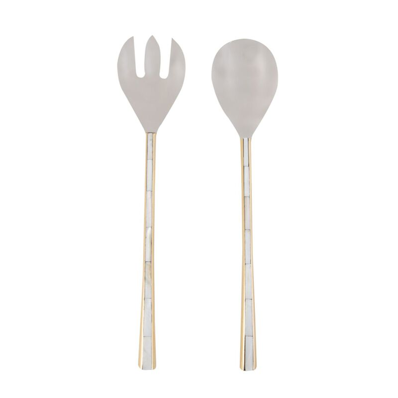 Gold & Mother of Pearl Salad Server Set -  gold
