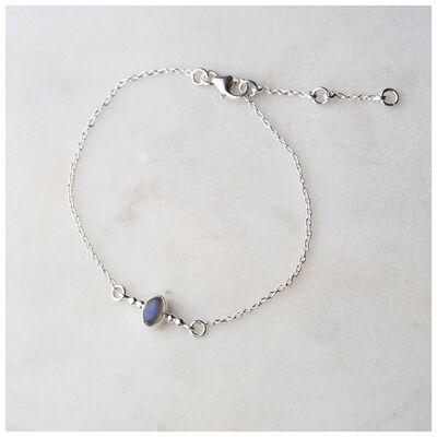 Silver & Labradorite Chain Bracelet