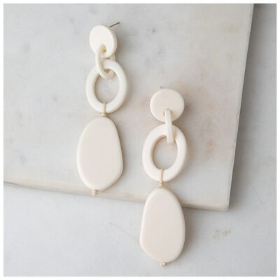 Bone Link Oval Drop Earrings