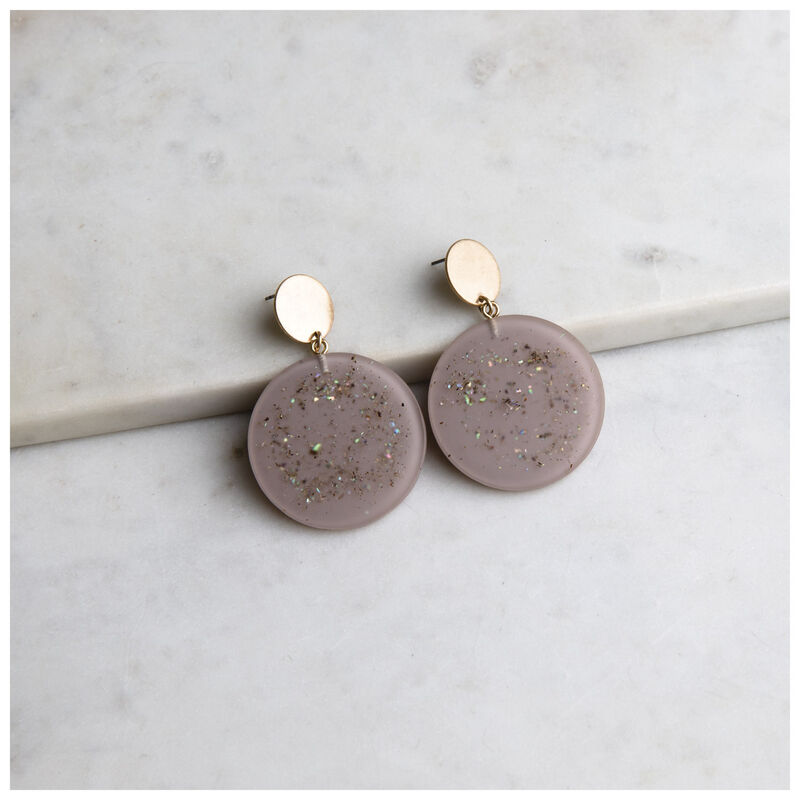 Resin Disc Drop Earrings -  gold-lilac
