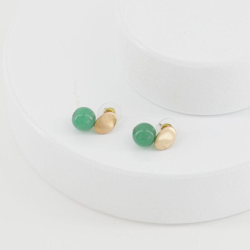 Oval Disk & Stone Double Drop Earrings -  emerald