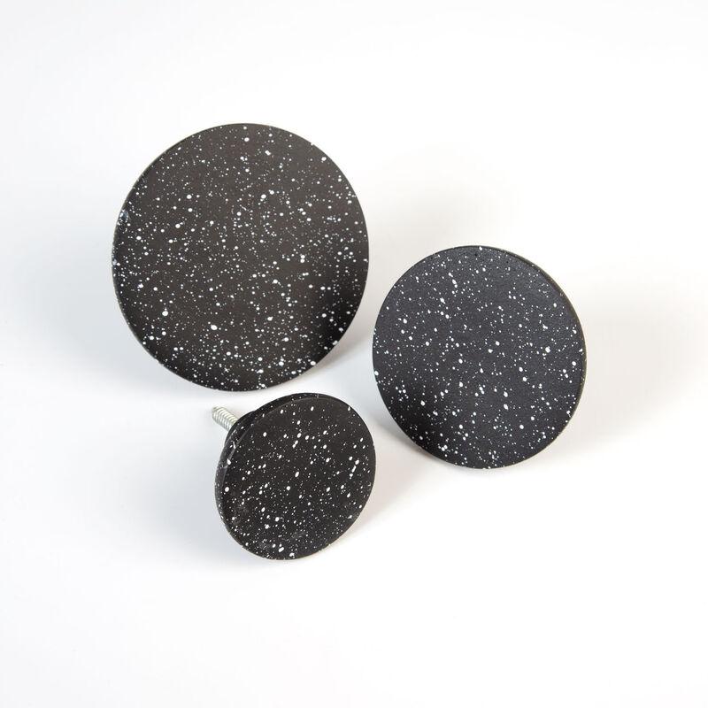 Black Speckled Wall Hook Set -  black-white