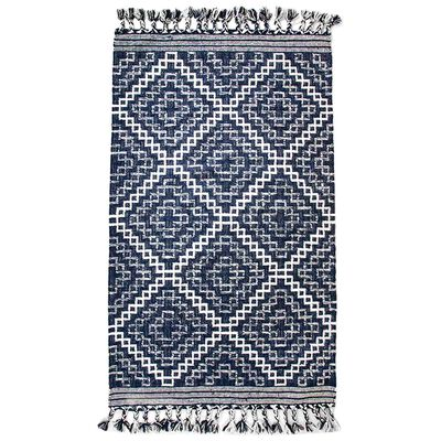 Blue and White Wool Rug