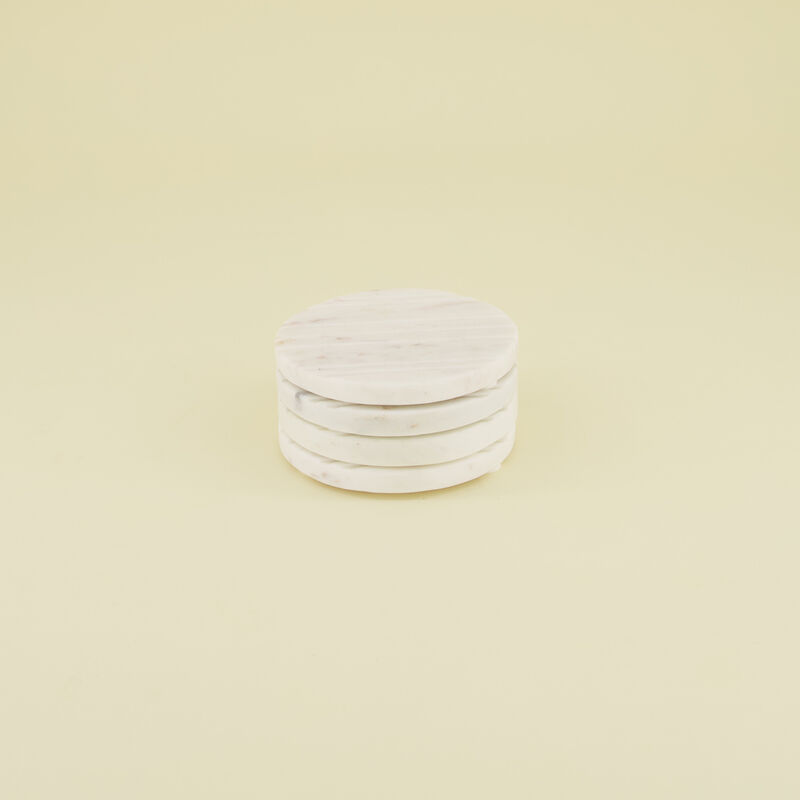 Set of 4 White Marble Coaster with Cut Lines -  white